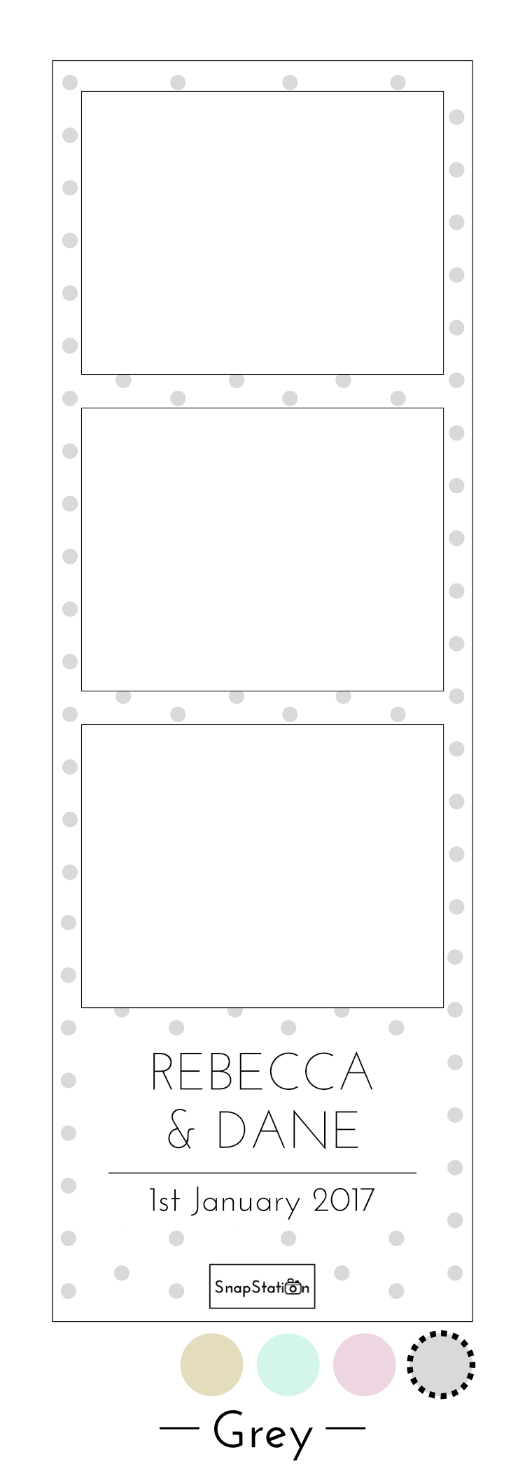 SnapStation personalised grey dots photo template