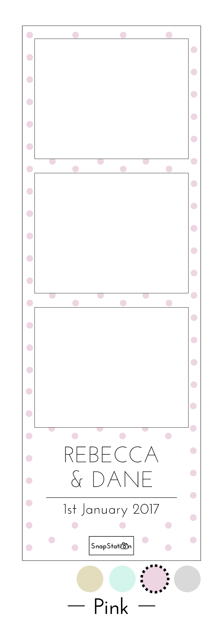 SnapStation personalised pink dots photo template