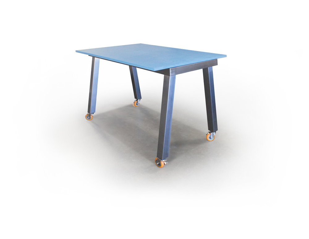 PAINTED ACRYLIC GLASS TOP w/ BRUSHED ALUMINUM LEGS