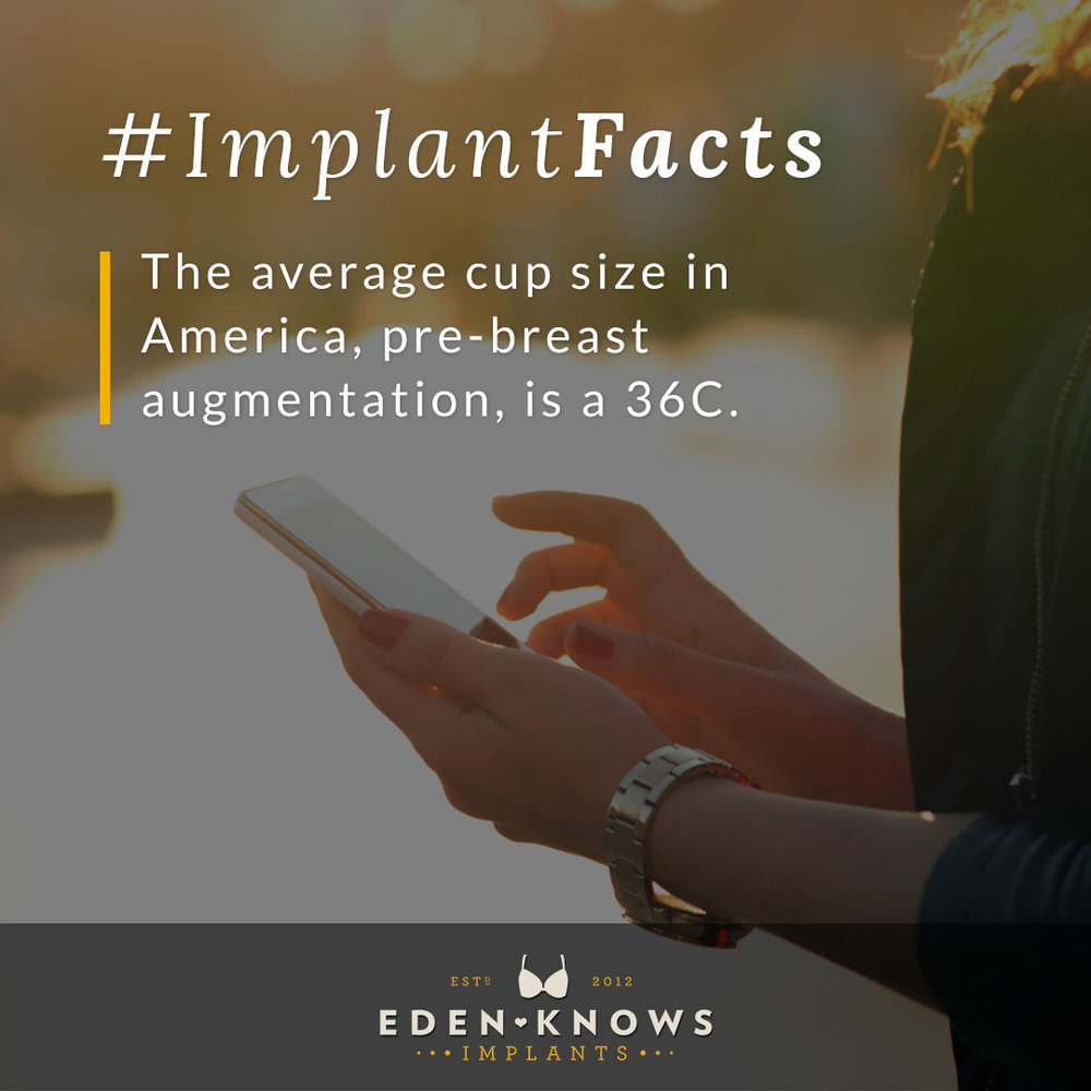 The average cup size in America, pre-breast augmentation, is a 36C.