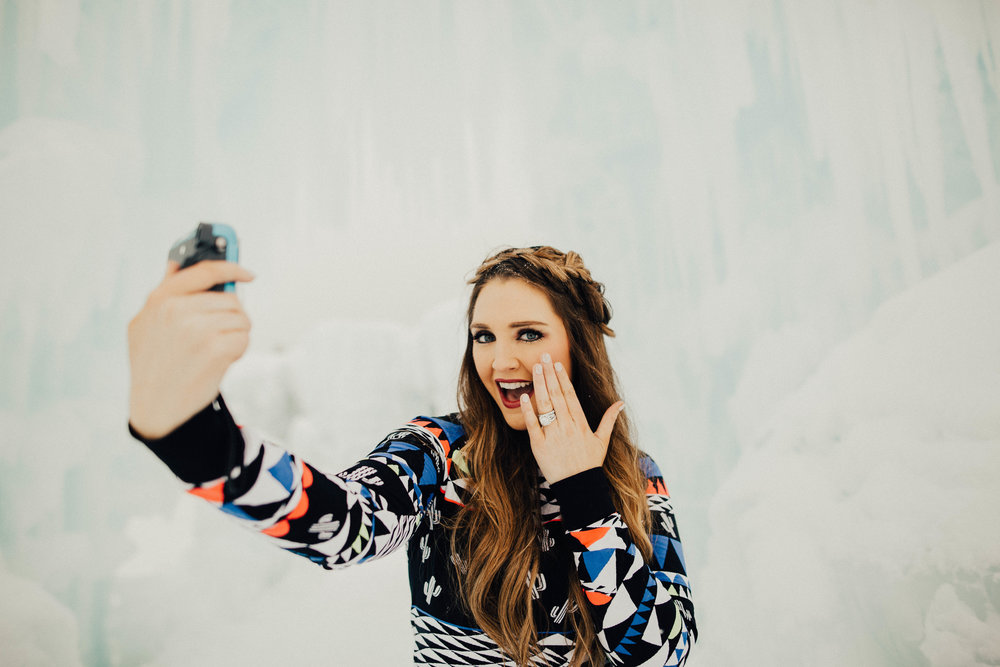 Influencer @collinstuohysmith shows off her selfie skills with her Fujifilm Instax Mini 70.