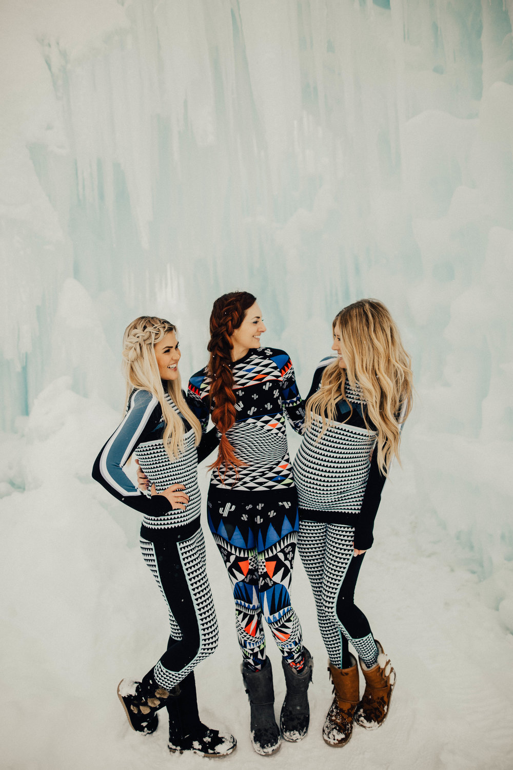 Influencers rock their Sweaty Betty ski suits at the Ice Castles.