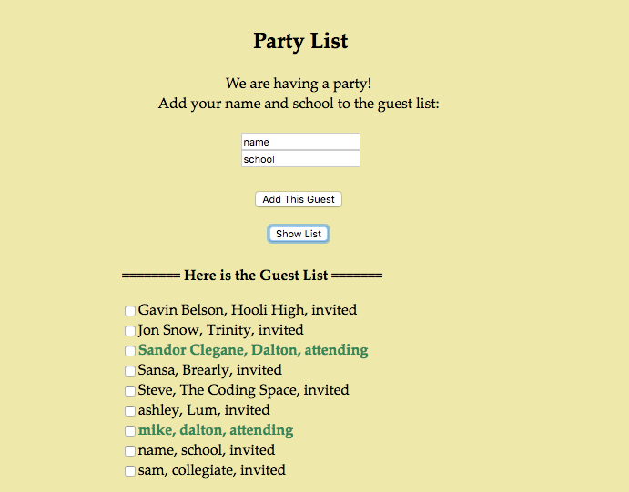 Party List (with Google Firebase)
