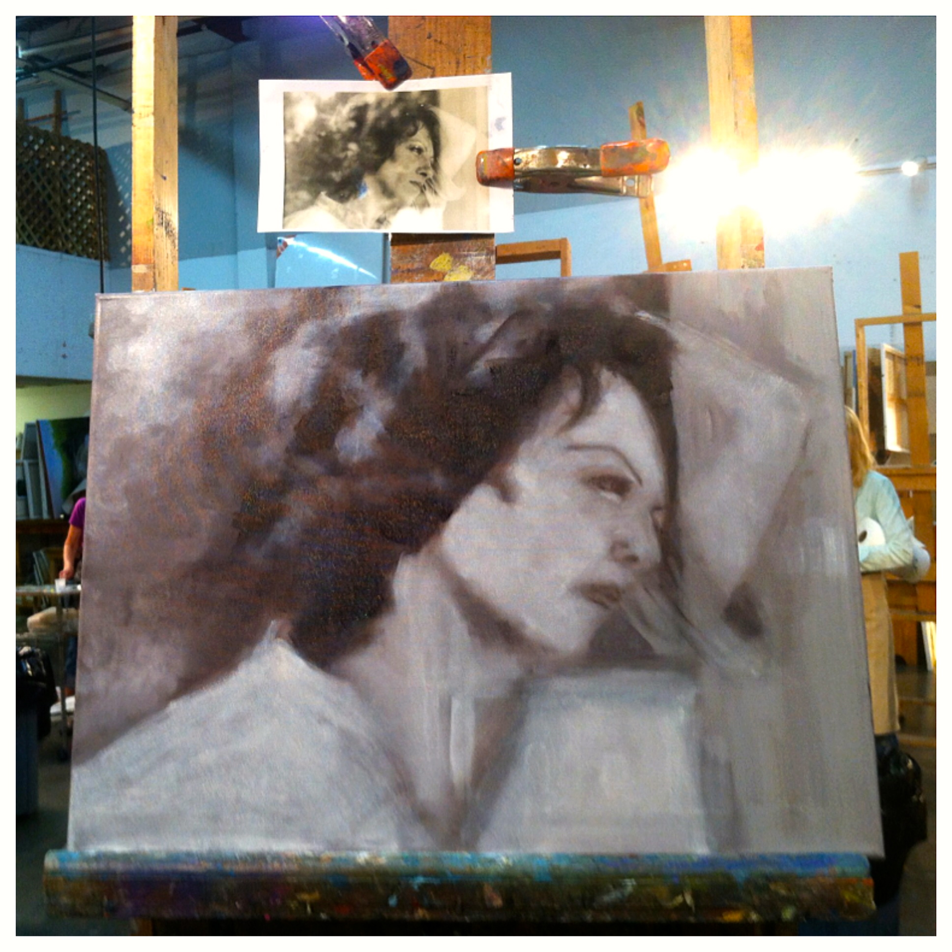 Portrait painting in progress by William Inganna