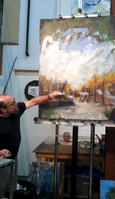 Andy Braitman demonstrating a painting start using large, loose strokes