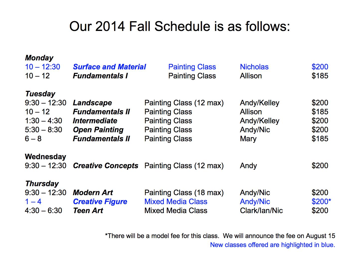BraitmanStudioFallClassSchedule2014