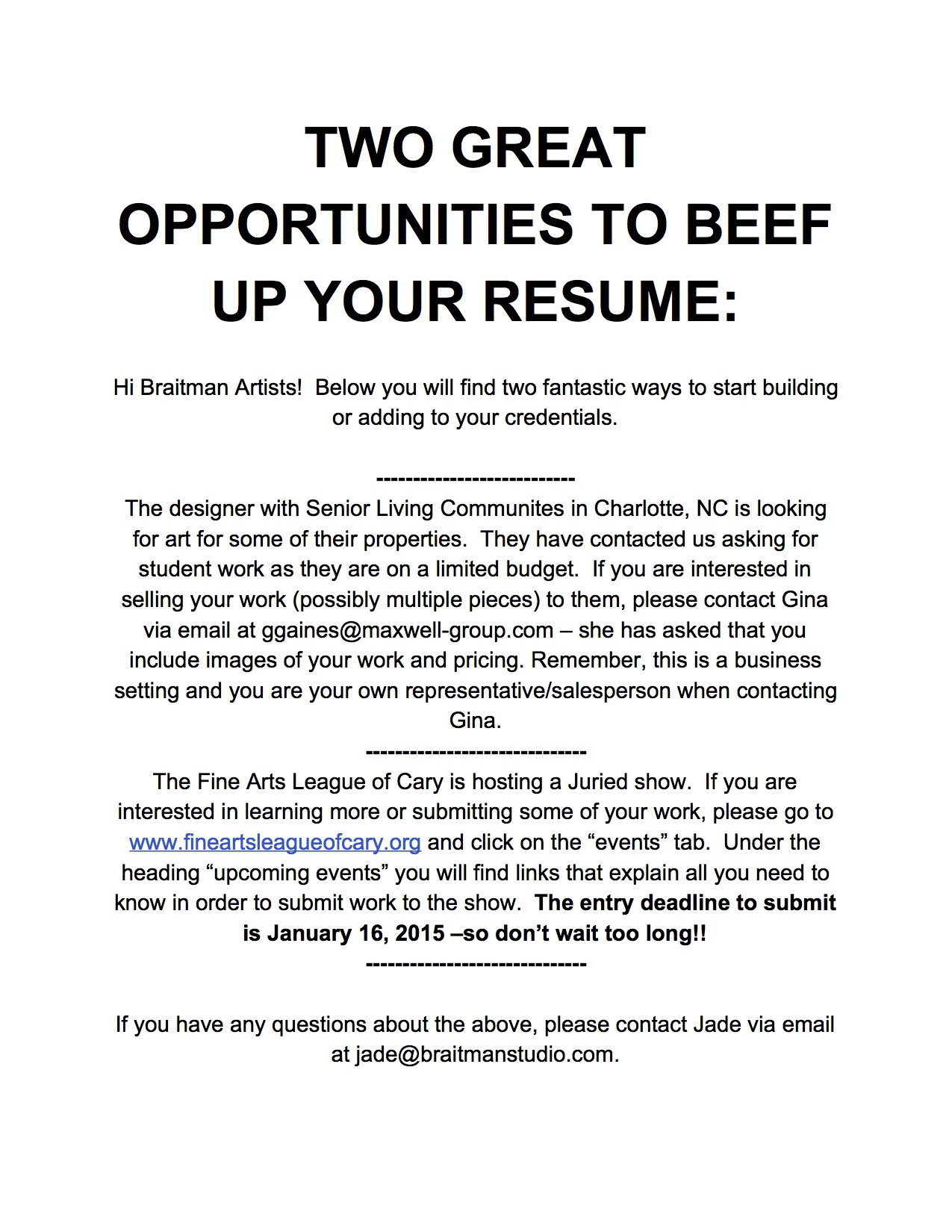 Two Great Opportunities To Beef Up Your Resume Braitman Studio