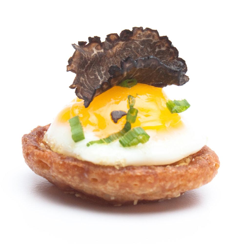 English Muffin Quail Egg Truffle