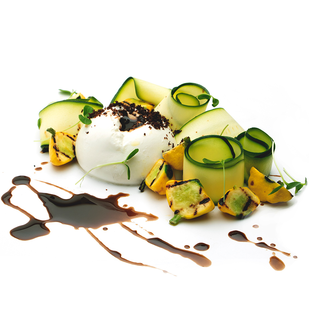 Housemade Buratta, Summer squashes black olive, black garlic.jpg