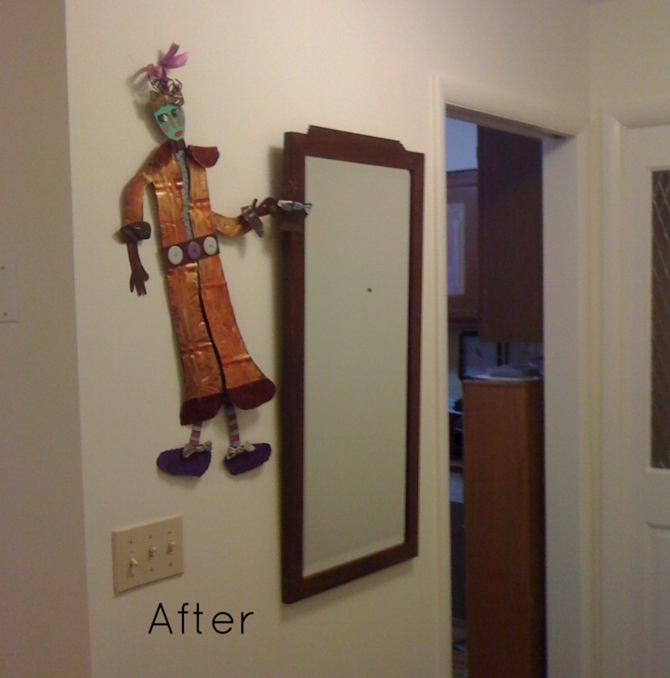 AFTER: Funky wall hanging added flair.
