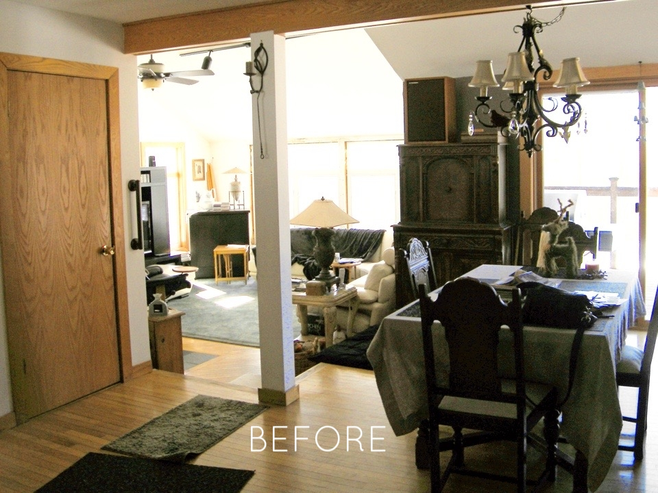 BEFORE: Large furniture made room feel too busy.