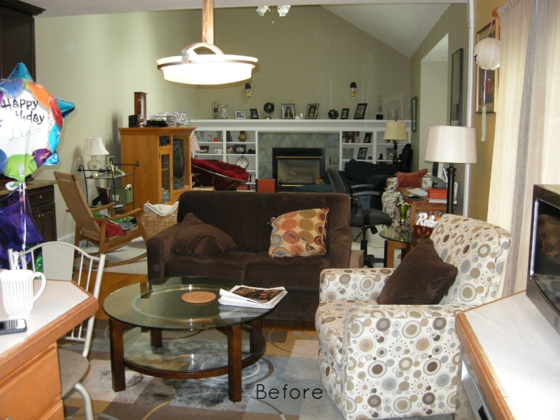 BEFORE:  A busy living room space.