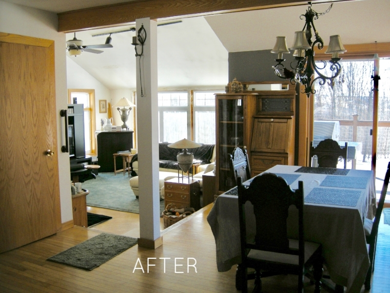 AFTER: Moved lamps and large dark furniture.