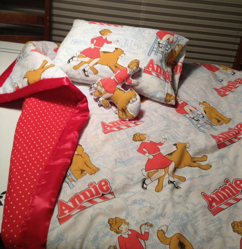 Annie blanket and pillow, as well as Annie doll and her dog, Sandy, too!