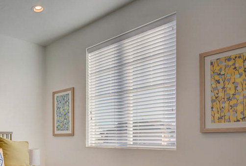 2 inch Valuewood blind in white with modern valance