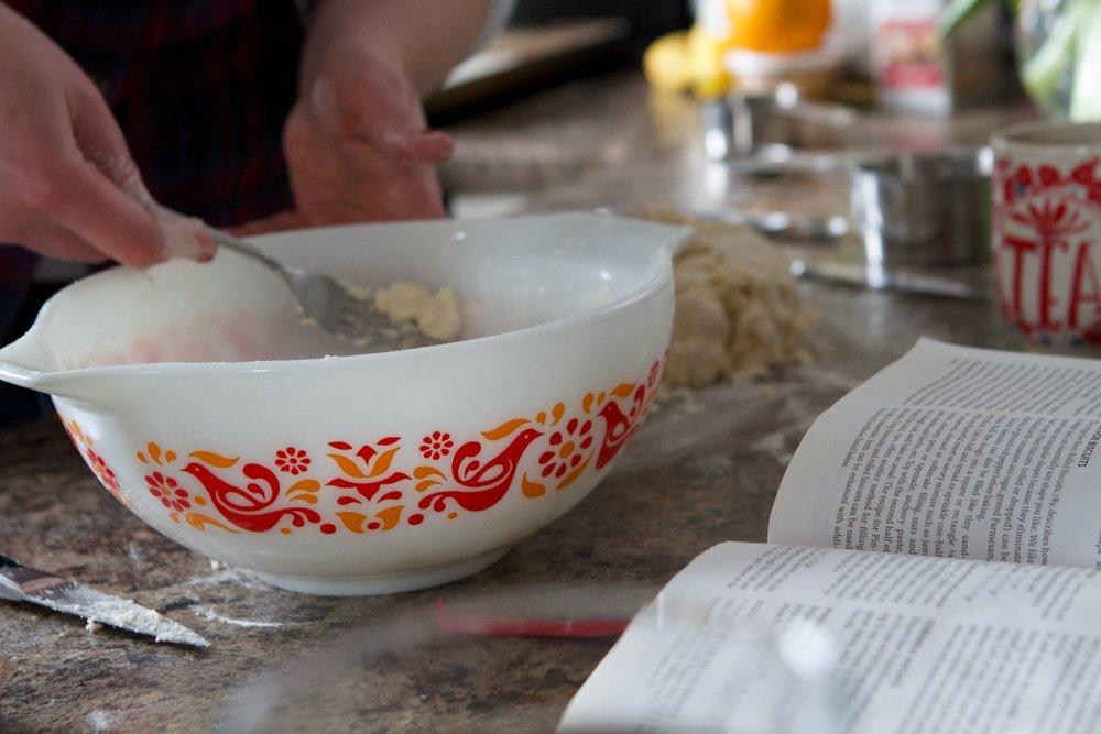 Pyrex and book