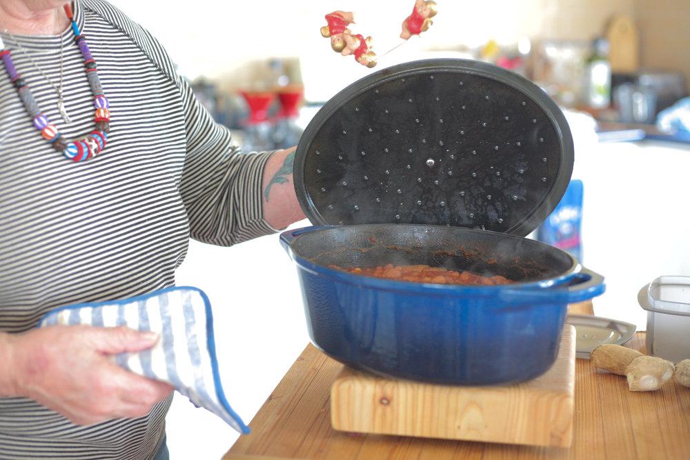 Open bean pot