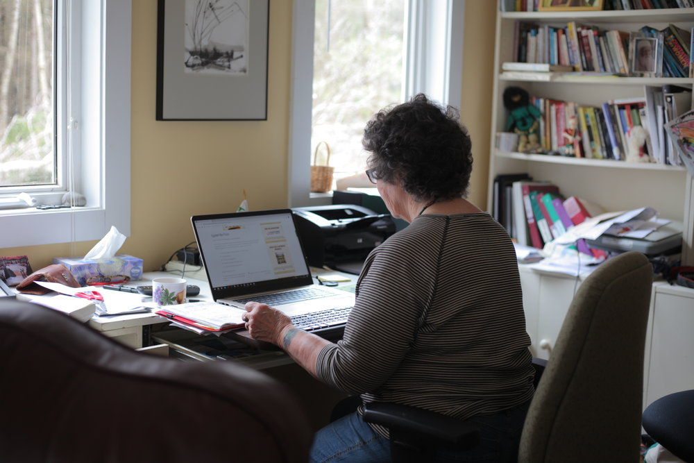 Sandra working