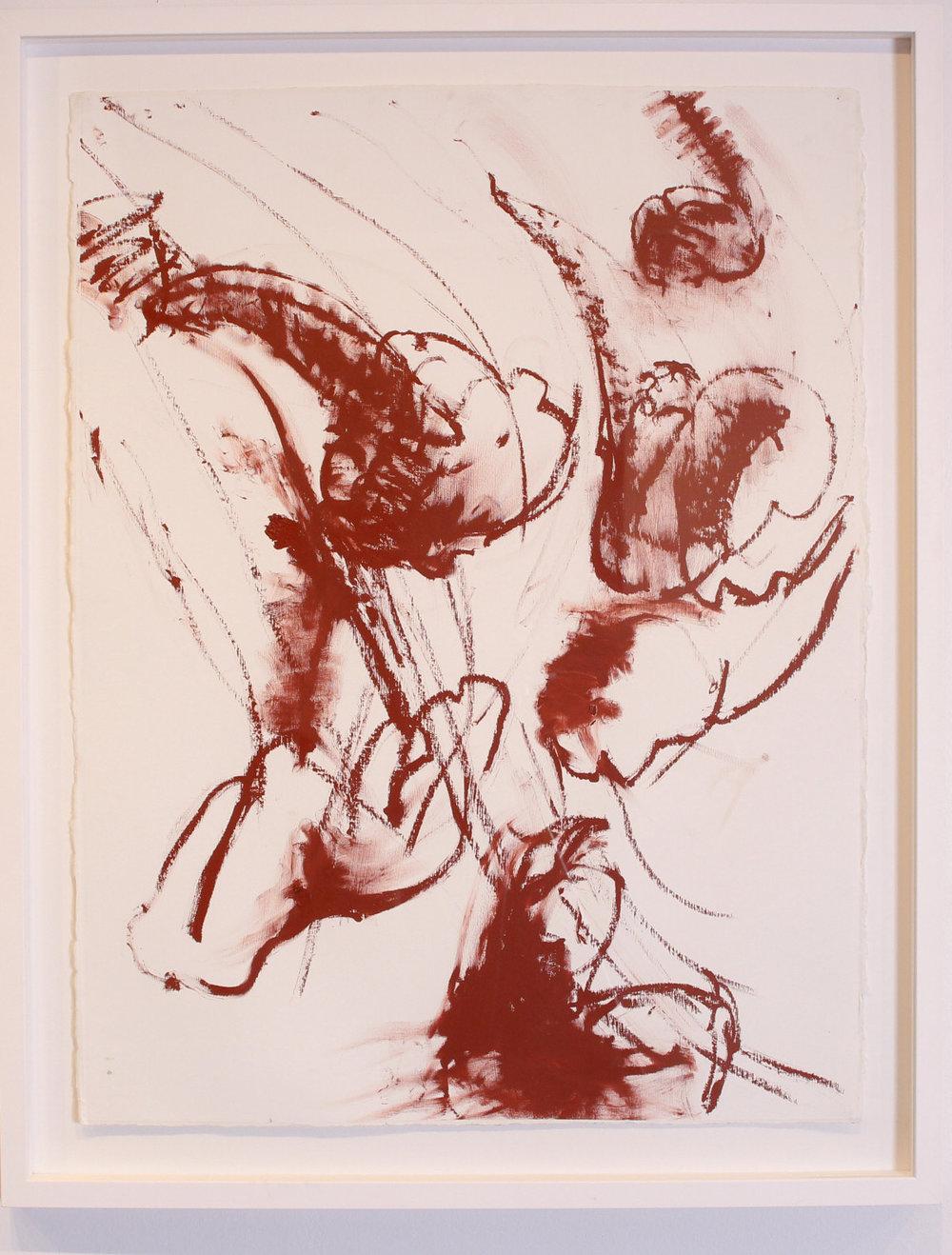 "Bombardment , oil on paper, 34 1/2 "" x 27 1/2"", 2017"
