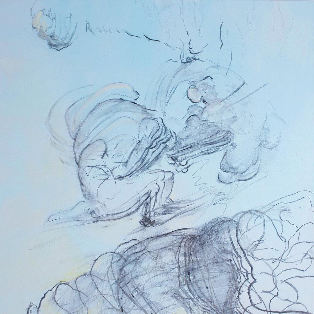 "Battlegrounds , acrylic and charcoal on canvas, 32"" x 32"", 2017"