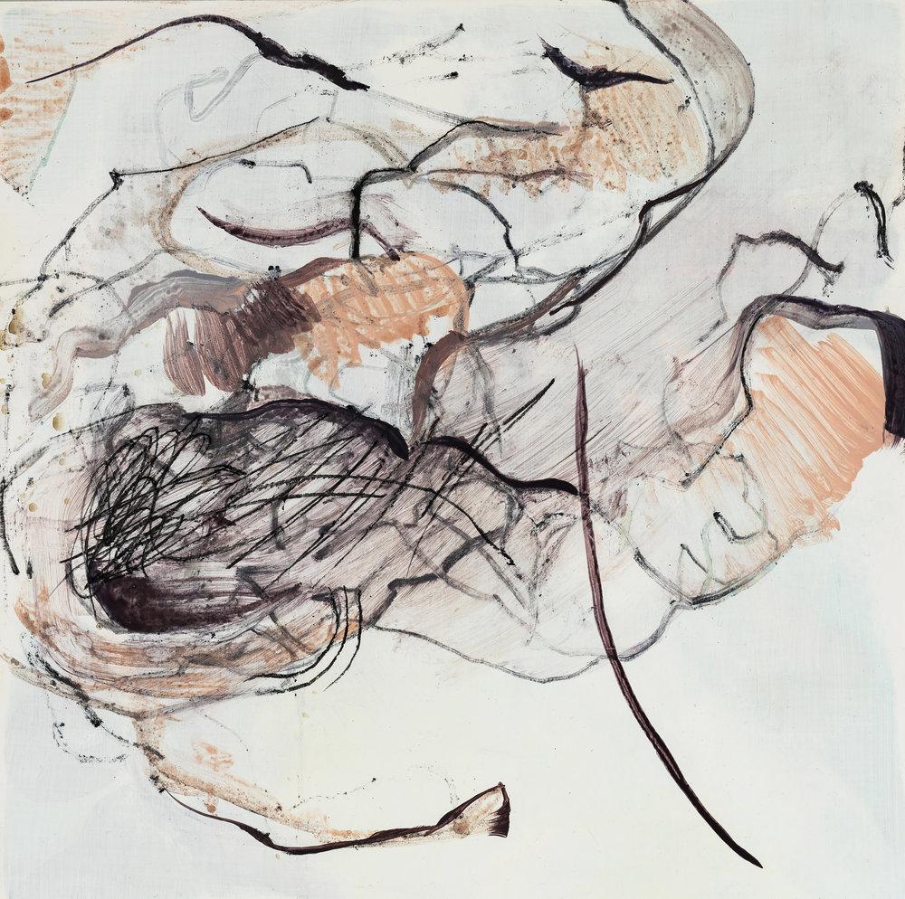 """Rain Down , acrylic and charcoal on panel, 12"""" x 12"""", 2017"""
