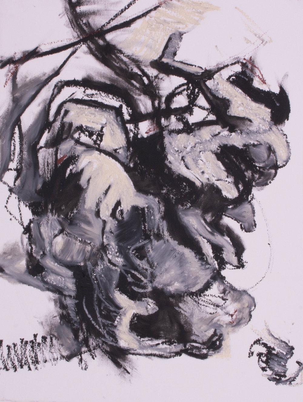 "Fallen Forest,  oil on paper, 34.5"" x 27.5"", 2017"