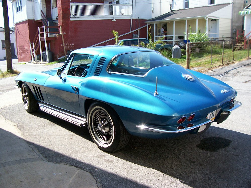 65 chevy corvette marina blue side pipes salvo brothers