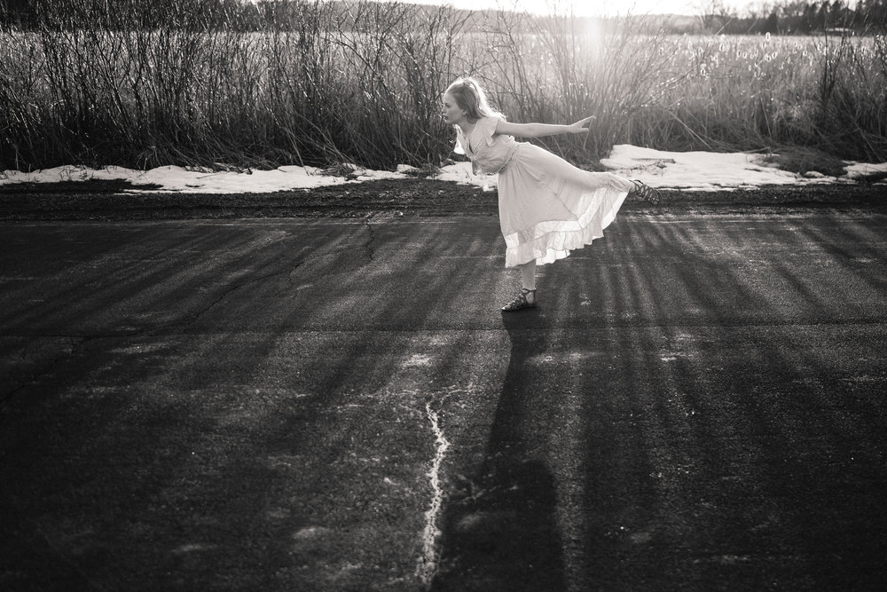 black and white photo of girl in white dress - Minnesota Family Photographer