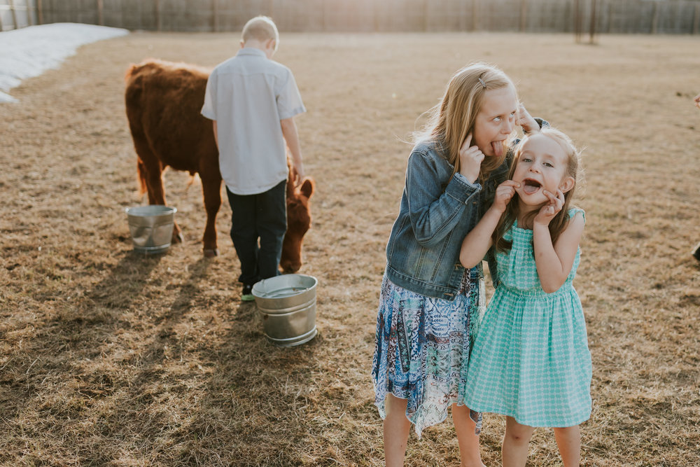 little girls making silly faces - Twin Cities Kid Photographer