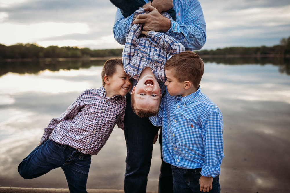 three brothers giggling and playing - Plymouth Minnesota Kid Photographer