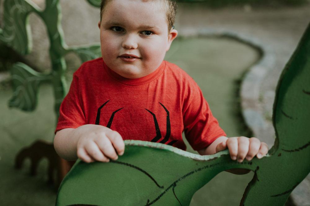 little boy wearing Spiderman t-shirt - Minnesota Kid Photographer