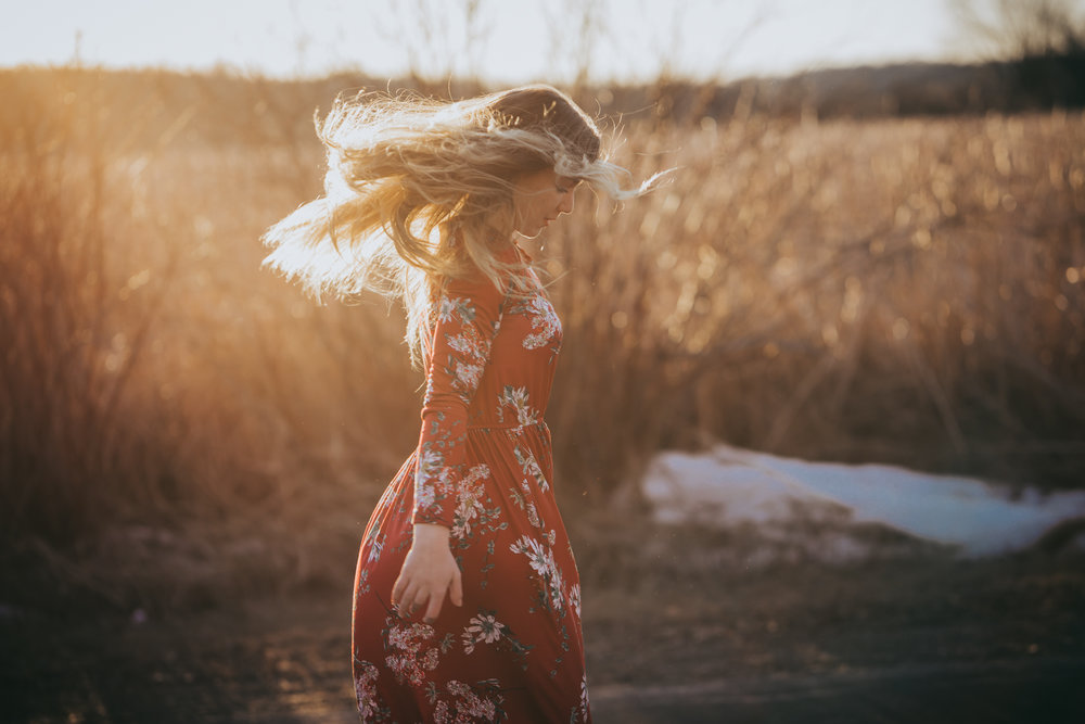 girl in red dress dancing in the sunlight - AMG Photography - Orono Senior Photographer