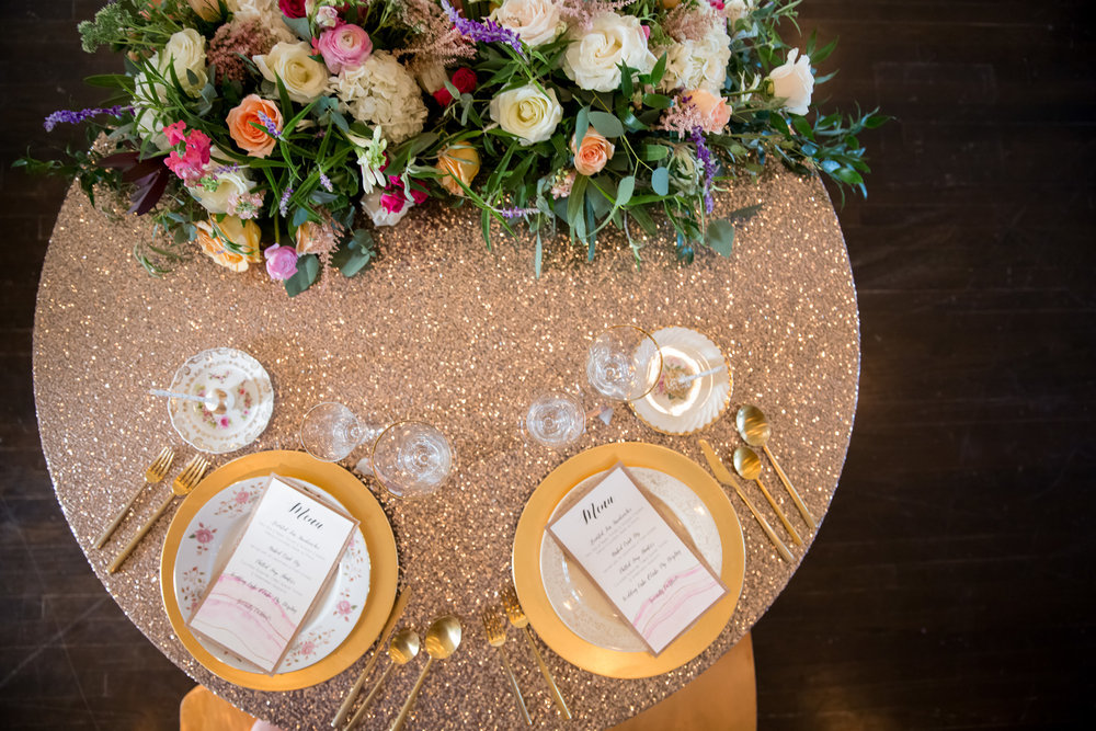Pink Geode and Gold Menus
