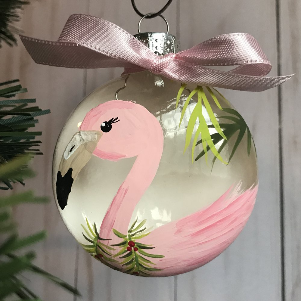 Flamingo Ornament - A beautiful hand painted ornament to celebrate the holidays with a bit of pink flair.