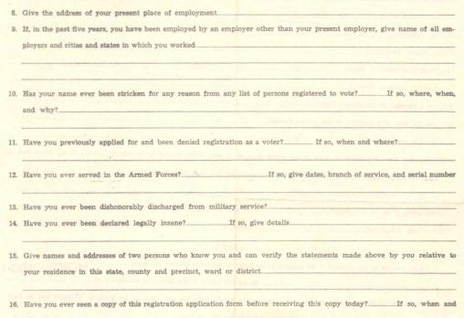 Alabama Voter Registration Form, circa 1965