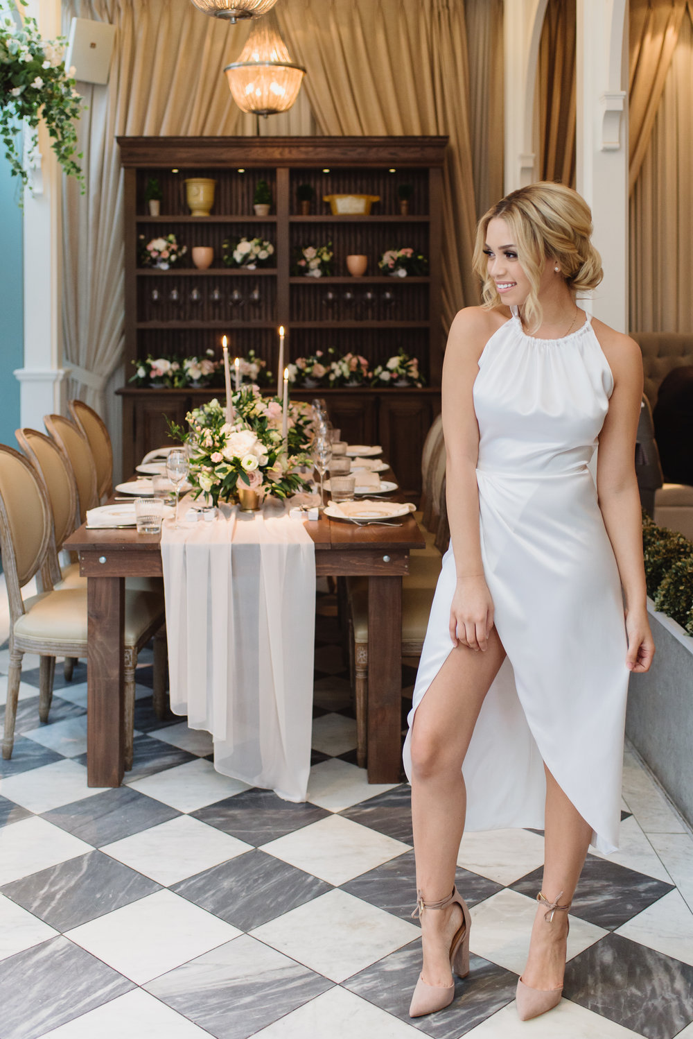 Dress by  Valencienne Bridal , Shoes from  Lulus