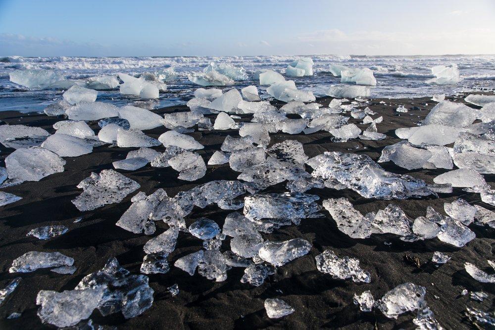 Countless Diamonds On The Black Sand Beach