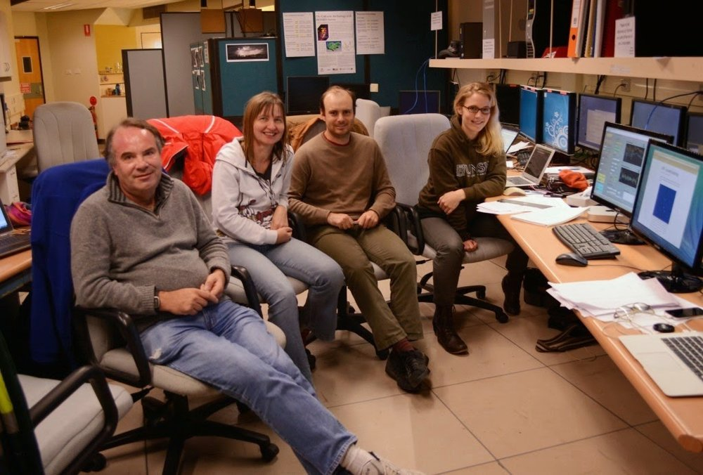 The HiPPI commissioning team in the AAT control room.  L-to-R: Jeremy Bailey, Lucyna Kedziora-Chudczer,  Daniel Cotton, Kim Bott