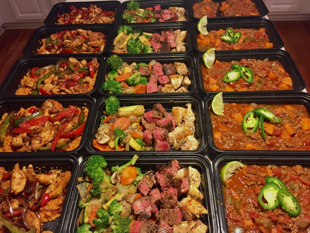 From left to right: Chicken Fajitas and Sweet Potato Rice, Teppanyaki Steak, Chicken, and Vegetables, Sweet Potato Chili.