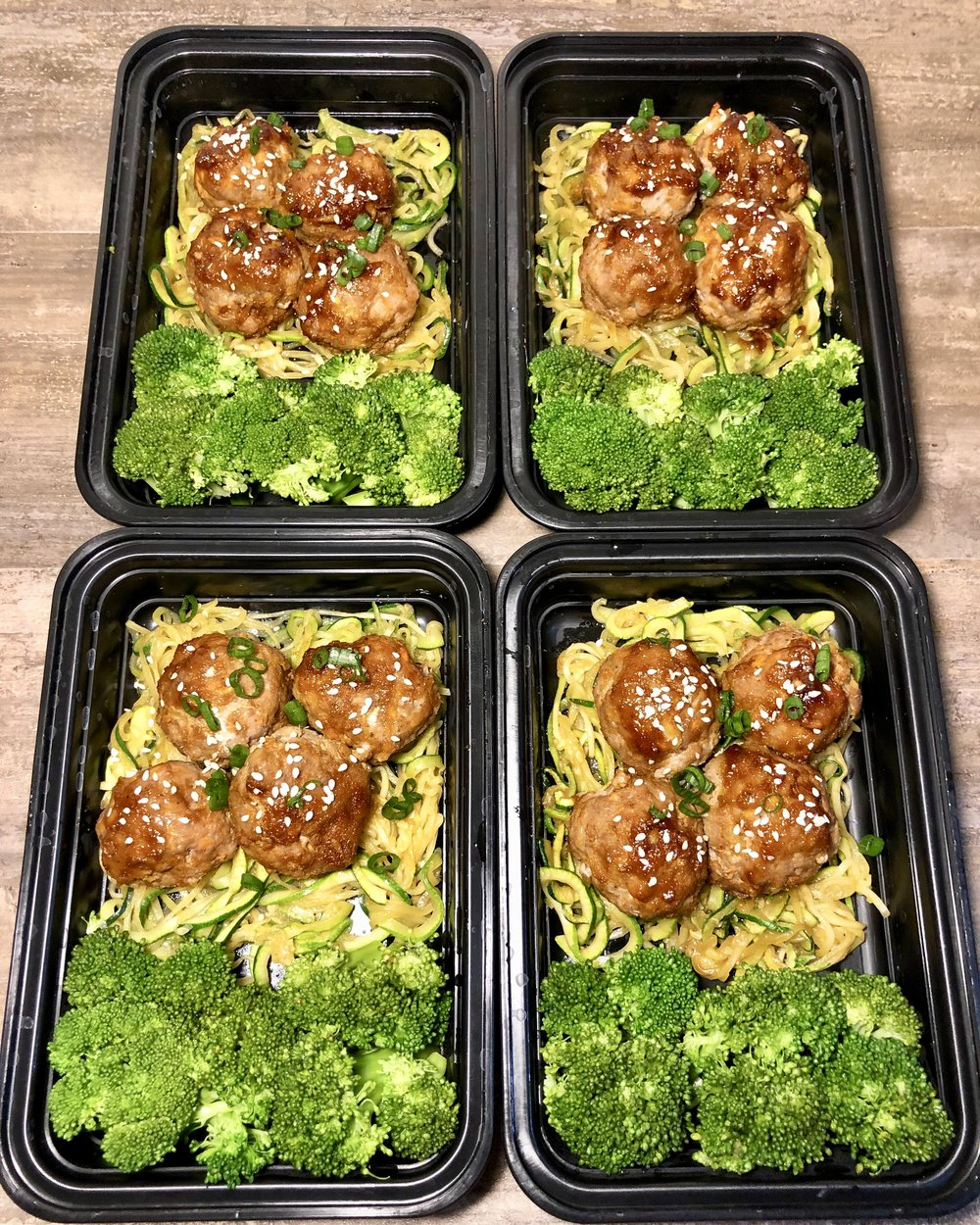 Maple Sriracha Meatballs with Zucchini Lo Mein