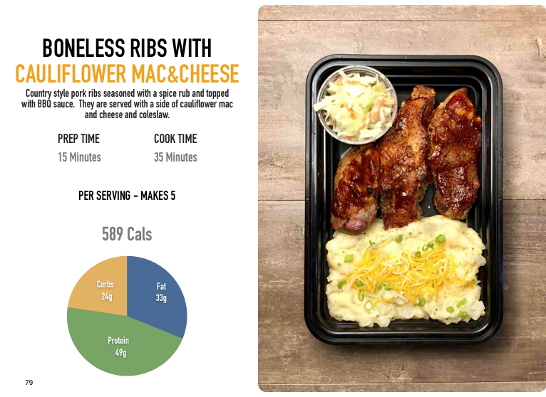 Boneless Ribs with Cauliflower Mac and Cheese