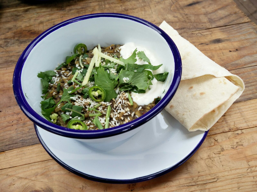 Black Lentil & Spinach Daal with Flatbread