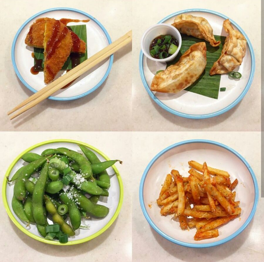 Eating out at  Yo! Sushi . Katsu Curry Pumpkin Fritters, Veggie Dumplings, Edamame & Chilli Sriacha Fries (no mayo) - Photo taken from  the.hangry.vegan