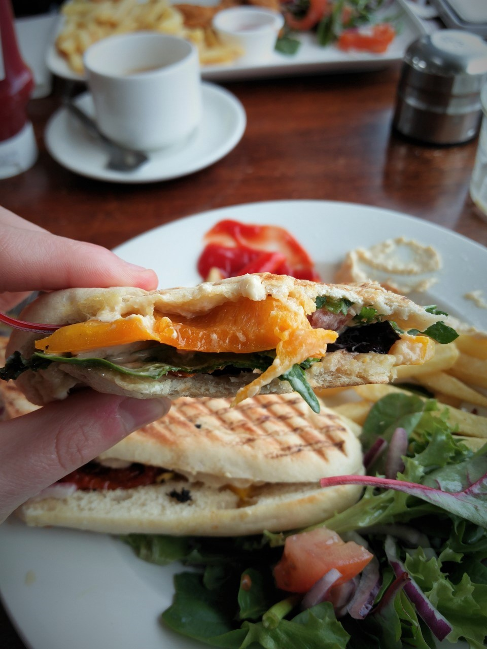 Here I asked for a salad panini (yes I got a weird look from the server) and it came with sweetcorn, peppers, red onion and sun dried tomatoes. I added some handbag hummus and took it up a notch! This was so good! Photo taken in Kilkee, Co. Clare (Ireladn).