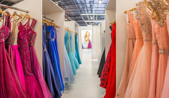 Inside look at the warehouses which hold the different dresses available for clients to try on.