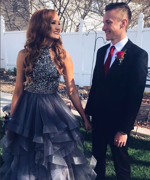 "Brinley: ""My favorite part about Prom was my stunning, charcoal, Sherri Hill dress for sure! I got compliments all night long! After Prom, I even had a stranger come up to me and ask if she could see a picture of my dress, because she had heard all about it where she works."""