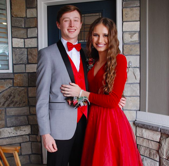 Katelyn looks amazing in red! We absolutely love dressing this girl, and this long sleeve velvet ballgown could be one of our favorite Sherri Hill dresses we've seen her in yet! (But we also love her in her latest short lace Sherri, too!)