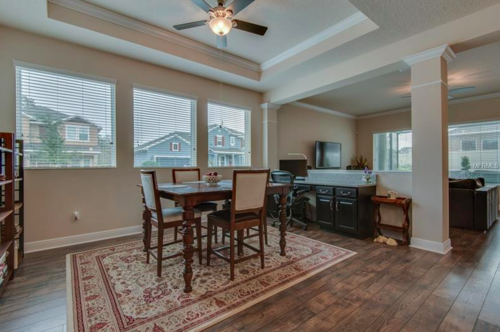 The main living space of this home is perfectly situated right next to the kitchen and connects seamlessly with the great room. Set this room up any way you like and entertain your guests all day and all night.