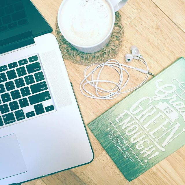 "Happy Fri-yay! ⭐️ Finish the week on a positive note: I use my ""the grass is green enough"" guided journal along with a short devotional. For extra effectiveness, add hazelnut coffee with cocowhip! . . . . #entrepreneur #morning #friday #positivity #journaling #coffee #workfromhome #motivation #tgif #design #graphicdesign #videoediting #laptoplifestyle #webdesign"