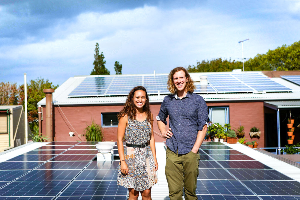 Dr Bjorn Sturmberg and Stucco President Sarah King amongst Stucco's solar panels.   Photo: Katherine Griffiths, City of Sydney